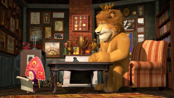 Mascha belehrt den King.  | Rechte: KiKA/Animaccord LTD