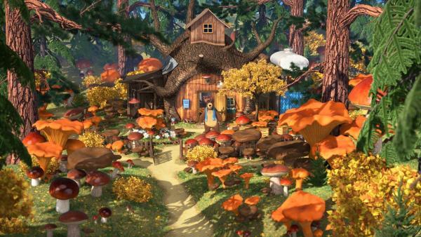 Mascha und der Bär staunen: Das Pilzregenlied hat funktioniert!   Rechte: KiKA/Animaccord Animation Studio