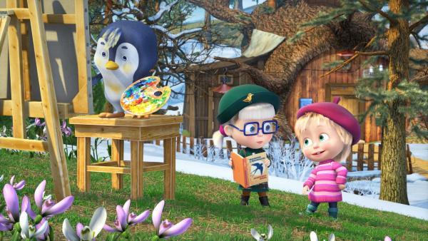 Mascha und Dascha mit einem ganz ungewöhnlichem Vogel: Einem malenden Pinguin! | Rechte: KiKA/Animaccord Animation Studio