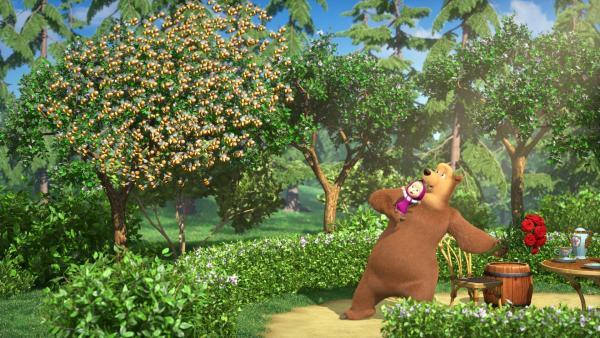 Der Bienenschwarm ist außer Rand und Band. Doch der Bär weiß, was zu tun ist.   Rechte: KiKA/Animaccord Animation Studio