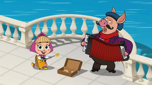 Mascha macht mit dem Schwein Musik. | Rechte: KiKA/Animaccord LTD 2008