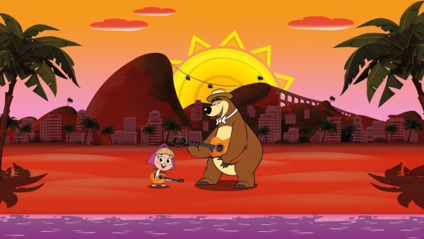 Mascha und der Bär spielen Gitarre am Strand. | Rechte: KiKA/Animaccord LTD 2008
