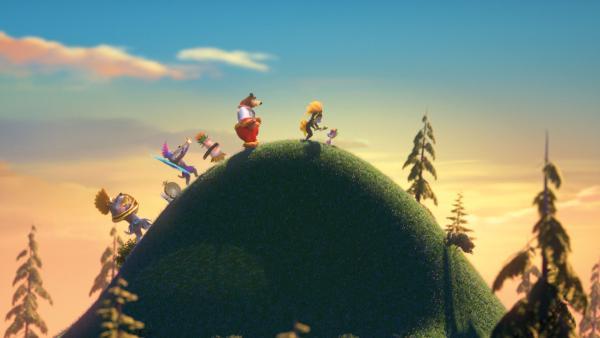 Die Gruppe tanzt über einen Berg. | Rechte: KiKA/Animaccord LTD 2008