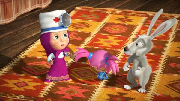 Mascha und der Hase bringen Mashuko zum Bären. | Rechte: KiKA/Animaccord LTD 2008