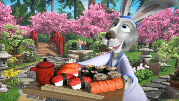 Der Hase mit einem Sushitablett | Rechte: KiKA/Animaccord LTD 2008