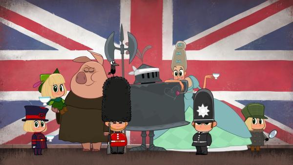 Mascha mit typischen Figuren vor der britischen Flagge | Rechte: KiKA/Animaccord LTD 2008