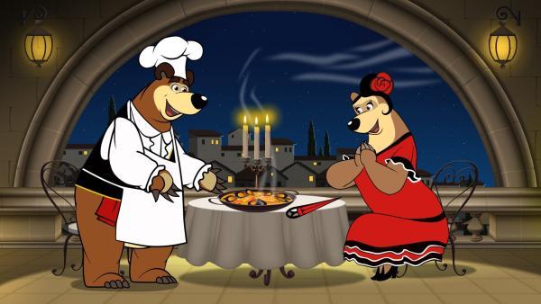 Der Bär serviert in einem Restaurant Paella. | Rechte: KiKA/Animaccord LTD 2008