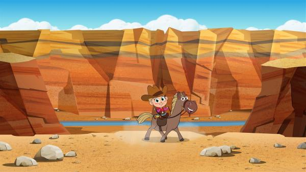 Mascha mit ihrem Pferd im Grand Canyon | Rechte: KiKA/Animaccord LTD 2008