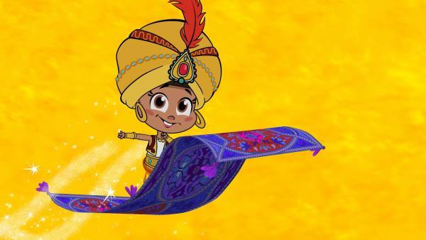 Mascha fliegt mit einem fliegenden Teppich. | Rechte: KiKA/Animaccord LTD 2008
