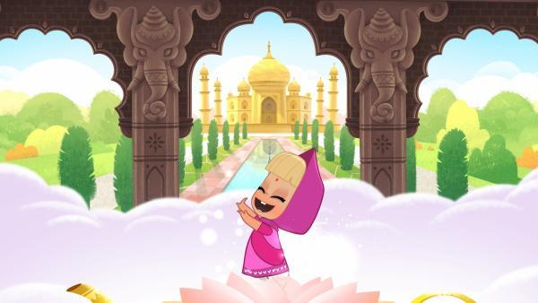 Mascha tanzt vor dem Taj Mahal. | Rechte: KiKA/Animaccord LTD 2008