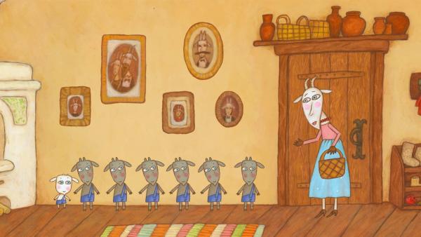 Die Ziegenmutter geht aus dem Haus und lässt ihre sieben Kinder allein zu Hause. | Rechte: KiKA/Animaccord LTD 2008