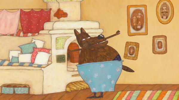Der Wolf sucht im Ofen nach dem 7. Geißlein. | Rechte: KiKA/Animaccord LTD 2008