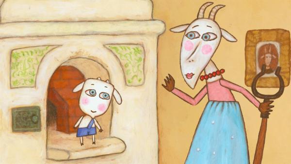 Die Mutter belehrt das kleinste Geißlein, dass es nicht in den Ofen hätte klettern sollen. | Rechte: KiKA/Animaccord LTD 2008