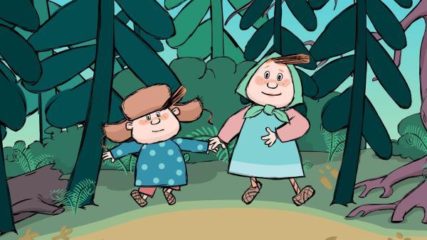 Klein Lena und Klein Ivan gehen in den Wald. | Rechte: KiKA/Animaccord LTD 2008