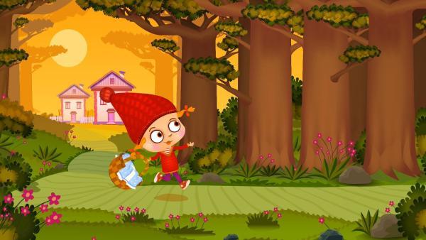 Rotkäppchen auf dem Weg zur Großmutter. | Rechte: KiKA/Animaccord LTD 2008