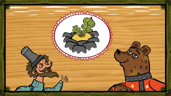 Der Bauer erklärt dem Bären, dass er später Gemüse ernten möchte. | Rechte: KiKA/Animaccord LTD 2008