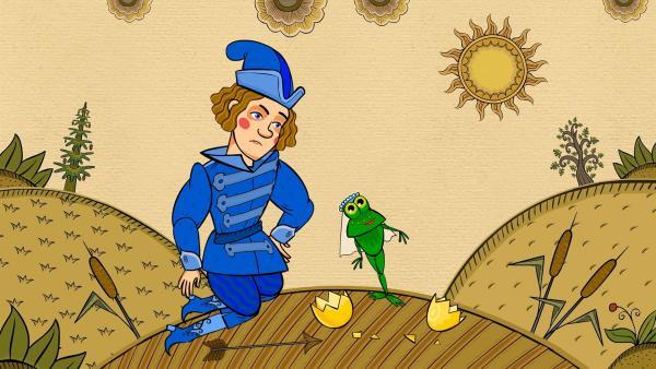 Prinz Ivan findet das zerbrochene Ei, aus dem ein Frosch hervorkam. | Rechte: KiKA/Animaccord LTD 2008