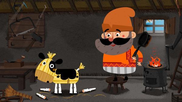 Der alte Mann hat aus dem herumliegenden Stroh ein Stierkalb gebaut. | Rechte: KiKA/Animaccord LTD 2008