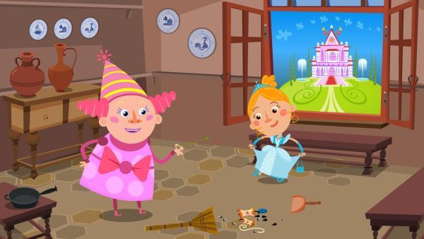 Die gute Fee hat Aschenputtel ein wunderschönes Kleid herbeigezaubert. | Rechte: KiKA/Animaccord LTD 2008