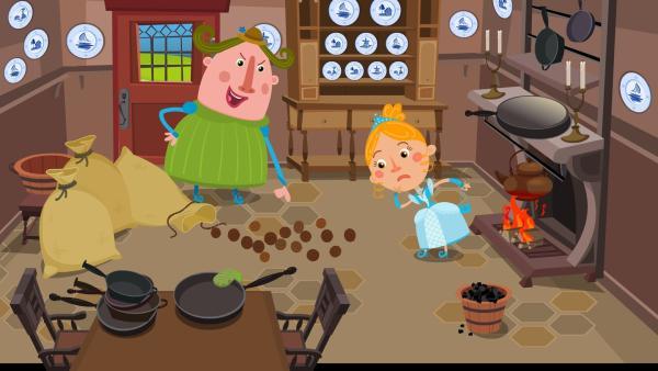 Die böse Stiefmutter gibt Aschenputtel die Aufgabe die Nüsse zu knacken. | Rechte: KiKA/Animaccord LTD 2008