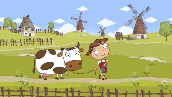 Hans soll die Kuh verkaufen um Geld zu bekommen.   Rechte: KiKA/Animaccord LTD 2008