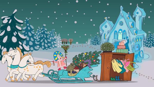 Väterchen Frost schenkt der Stieftochter drei Schimmel, einen Weihnachtsbaum, einen Schlitten und einen Kleiderschrank voller hübscher neuer Kleider. | Rechte: KiKA/Animaccord LTD 2008