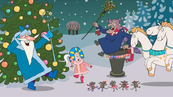 Die Stieftochter feiert mit Väterchen Frost und der Hexe Weihnachten. | Rechte: KiKA/Animaccord LTD 2008