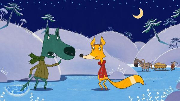 Der Wolf braucht Hilfe und sagt dem Fuchs, dass er den Fischer holen soll. | Rechte: KiKA/Animaccord LTD 2008