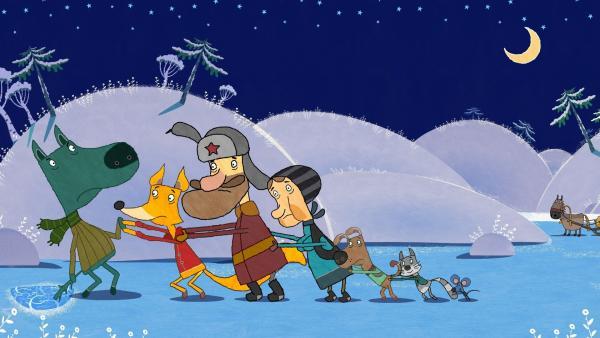 Der Fuchs, der Fischer, seine Frau, der Hund, die Katze und die Maus versuchen dem Wolf zu helfen.   Rechte: KiKA/Animaccord LTD 2008