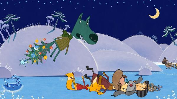 Die Helfer haben den Wolf befreit.   Rechte: KiKA/Animaccord LTD 2008