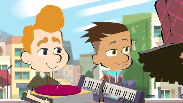 Leon (links) gehört auch zu Max' Freunden und ist Teil der Band. Er ist eher schüchtern, aber sobald er an den Turntables sitzt, dreht er mächtig auf.  | Rechte: hr/Monello Productions - MP1