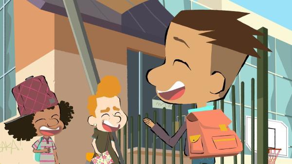 Max und seine Freunde kriegen sich vor Lachen nicht mehr ein, als sie Emilias Tagebuch lesen. | Rechte: hr/Monello Productions - MP1