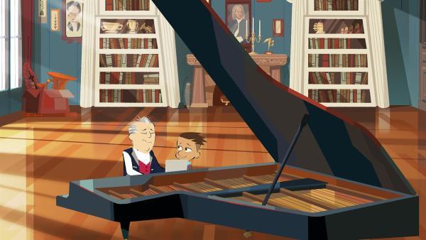 Max lernt bei Maestro Barenboim, dass es wie bei einem Wechsel von Moll nach Dur oft die kleinen Gesten sind, die etwas Großes bewirken können. | Rechte: hr/Monello Productions - MP1