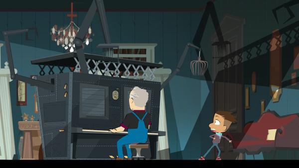Der Maestro sitzt am kulinarischen Klavier. Max fürchtet sich vor dem Gerät. | Rechte: hr/Monello Productions - MP1
