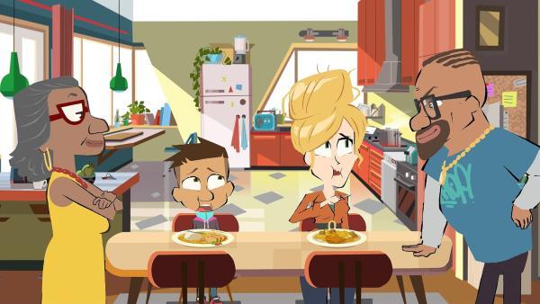 Max und seine Mama Sandra bilden die Jury für das Curry von Wesley und Max' Oma (li.). | Rechte: hr/Monello Productions - MP1