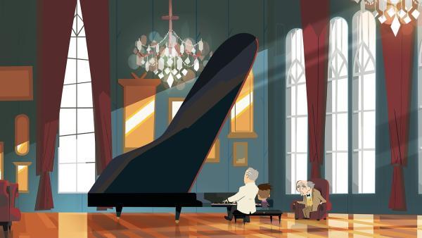 Max und der Maestro bestreiten ein Duett für den alten Lehrer Barenboims. | Rechte: hr/Monello Productions - MP1