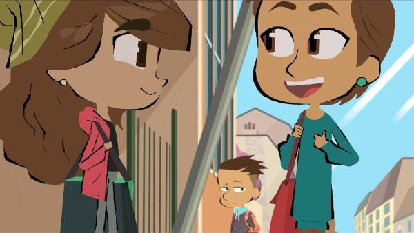 Max ist eifersüchtig auf Emilias (li.) Freundin Lucy (re.). | Rechte: hr/Monello Productions - MP1