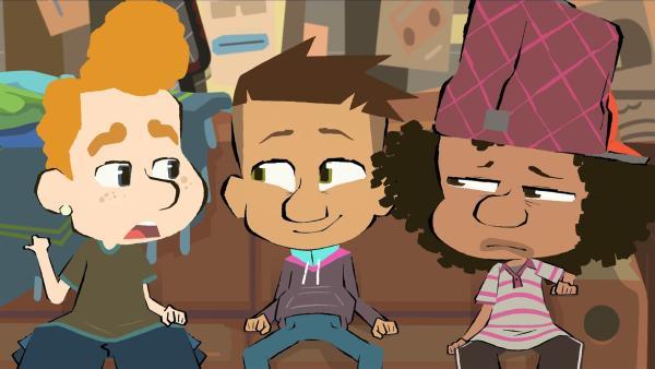 Leon, Max und Maurice sind nicht mehr zufrieden mit ihrem Proberaum.   Rechte: hr/Monello Productions - MP1