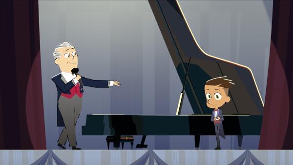 Beim gemeinsamen Auftritt: Der Maestro mit seinem Schüler Max. | Rechte: hr/Monello Productions - MP1