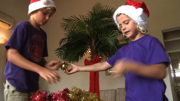 Merla und ihr Bruder Leo schmücken ihren Spezial-Weihnachtsbaum | Rechte: SWR/Tonix Pictures GmbH