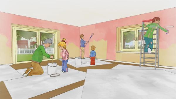Conni zieht um. Doch bevor die Familie Klawitter in das neue Haus einziehen kann, ist noch eine Menge zu erledigen. Gerne hilft Conni mit. | Rechte: ZDF/Henning Windelband/Youngfilms GmbH