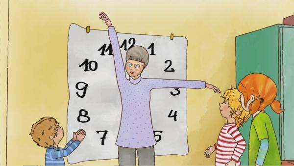Conni und Anna wollen wissen, wie spät es ist. Mit Omas Uhrzeit-Quiz macht das Uhr lesen gleich viel mehr Spaß.   Rechte: ZDF/Henning Windelband/Youngfilms GmbH