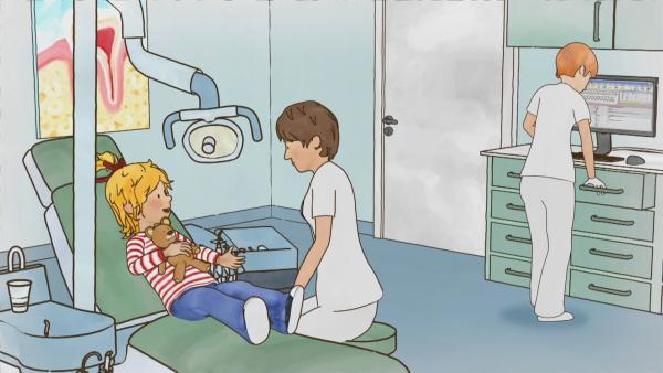 Bei ihrem ersten Zahnarztbesuch ist Conni sehr aufgeregt. Doch die freundliche Zahnärztin nimmt Conni die Angst und beantwortet geduldig all ihre Fragen. | Rechte: ZDF/Henning Windelband/Youngfilms GmbH