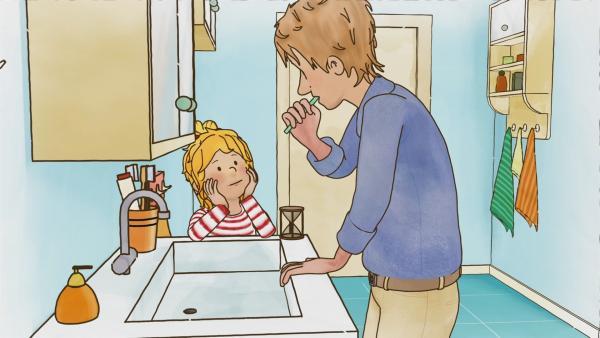 Conni war bei der Zahnärztin und weiß nun ganz genau, wie wichtig gründliches Zähneputzen ist. Deshalb passt Conni auf, dass Papa nun auch alles richtig macht.   Rechte: ZDF/Henning Windelband/Youngfilms GmbH