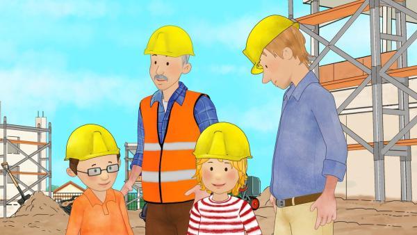 Conni staunt. Auf der Baustelle gibt es viel zu sehen. | Rechte: ZDF/Henning Windelband/Youngfilms GmbH