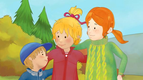 Conni, Anna und Jakob genießen das Herbstwetter. | Rechte: ZDF/Henning Windelband/Youngfilms GmbH