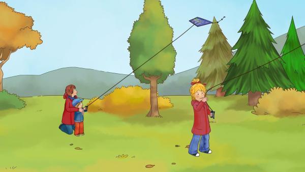 Conni, Mama und Jakob lassen ihre Drachen hoch in die Luft steigen. | Rechte: ZDF/Henning Windelband/Youngfilms GmbH