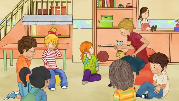 Was ist denn nur im Kindergarten los? Bei Simon, Conni und Anna juckt es ganz fürchterlich am Kopf. | Rechte: ZDF/Henning Windelband/Youngfilms GmbH
