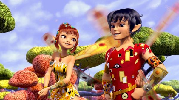 Prinz Mo (re.) und Yuko (li.) sind Mias Freunde in der Welt von Centopia. | Rechte: ZDF/2012 Lucky Punch/Rainbow/March Ent.