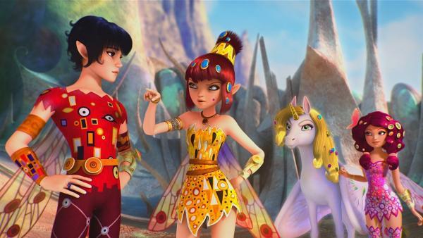 Da Rixel und Gargona einen Drachen hypnotisieren wollen, eilen Mo, Yuko und Mia zur Hilfe. | Rechte: ZDF/Hahn & m4e Productions/Rainbow
